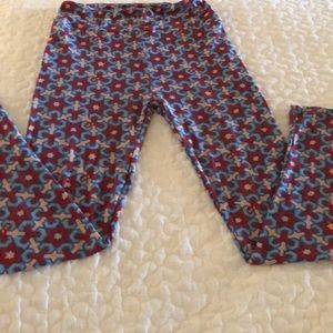 LulaRoe Red,Blue Beige Printed One Size leggings